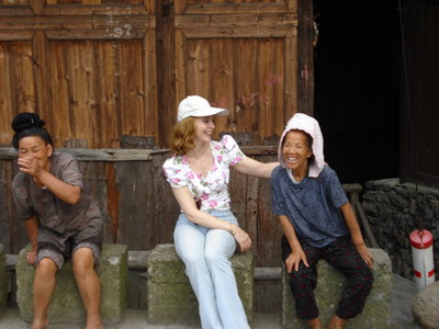 Summer 2007, Guizhou province, laughing with Miao women
