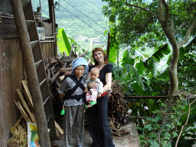 With a Miao Grand-mother and baby twins in Guizhou Province